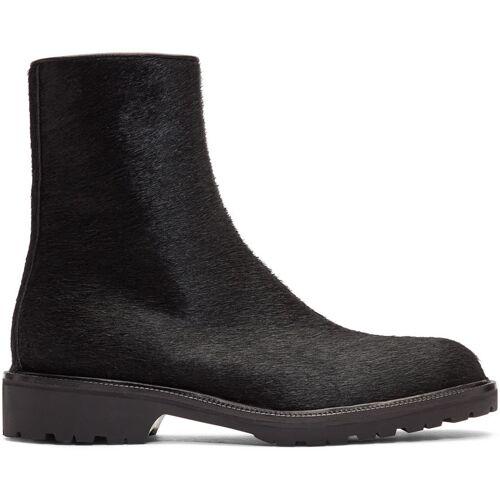 Dries Van Noten Black Pony Hair Zip Boots 39