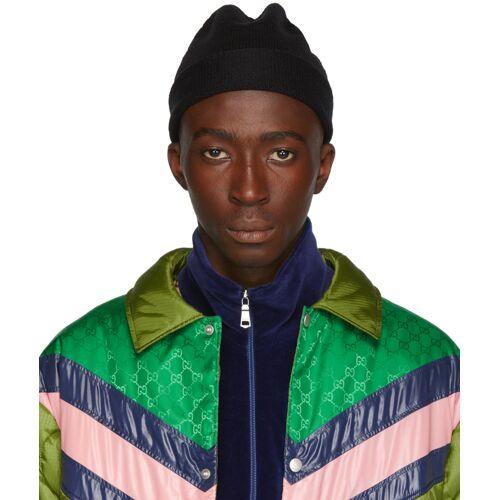 Gucci Black Wool Web Beanie 62