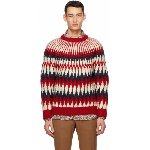 Gucci Red Wool Zigzag Sweater S