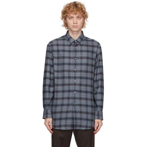 Brioni Grey Cotton Plaid Shirt S