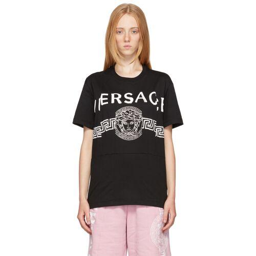 Versace Black Cutwork Medusa Logo T-Shirt S