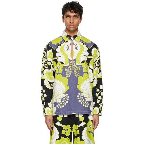 Valentino White Hemp World Arazzo Print Shirt XS