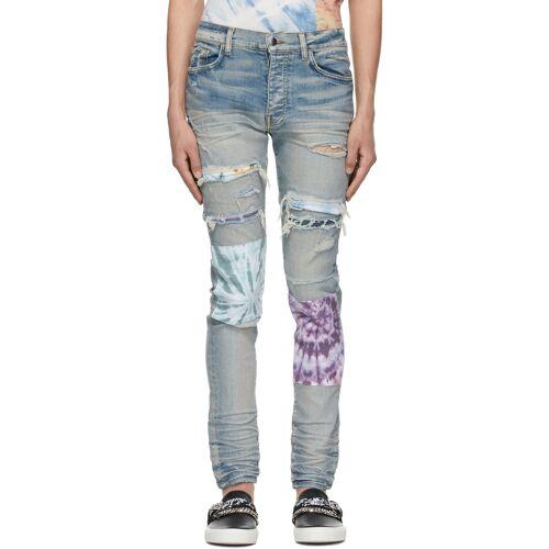 AMIRI Blue Tie-Dye Art Patch Jeans 32