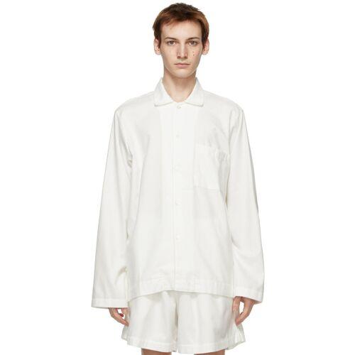 Tekla White Flannel Pyjama Shirt S