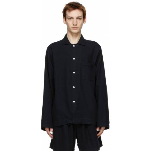 Tekla Black Flannel Pyjama Shirt M