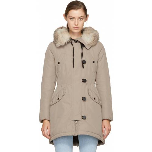 Moncler Taupe Down Arehdel Coat L