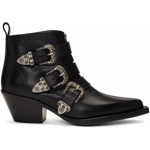 R13 Black Three-Buckle Ankle Boots 37