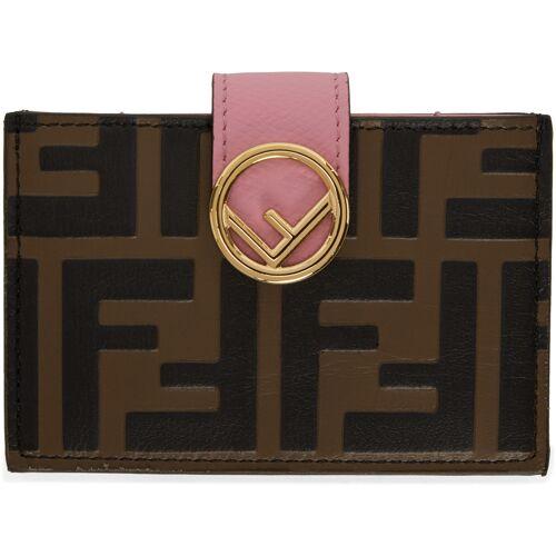 Fendi Brown & Pink 'Forever Fendi' 'F is Fendi' Card Holder UNI