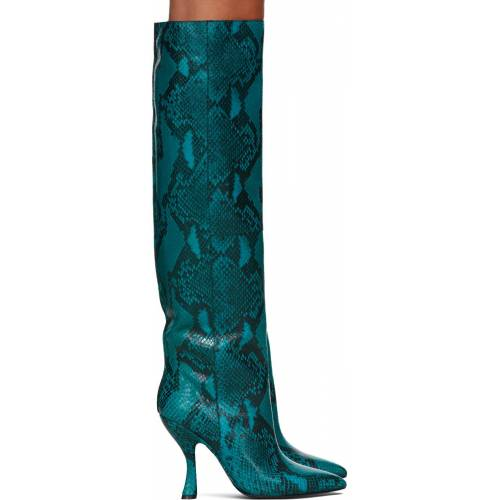 Dries Van Noten Blue Snake Tall Boots 37