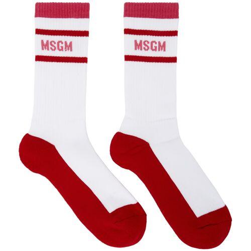MSGM White & Red Collegiate Socks 34/35