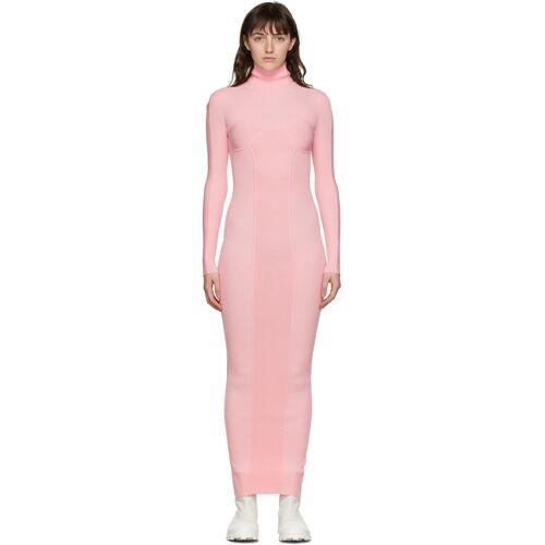 Sunnei Pink Rib Knit High Neck Dress S