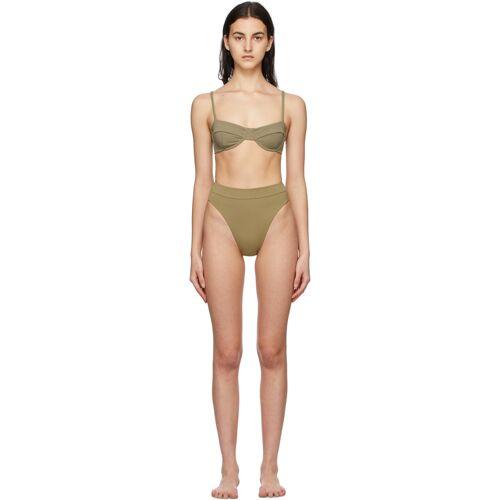 Haight Green Crepe Vintage Bikini 36
