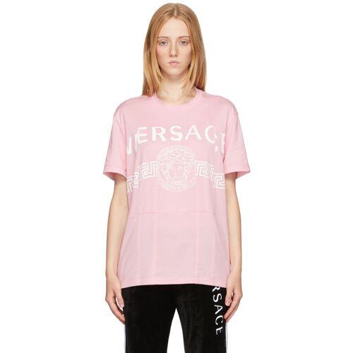 Versace Pink Cutwork Medusa Logo T-Shirt L