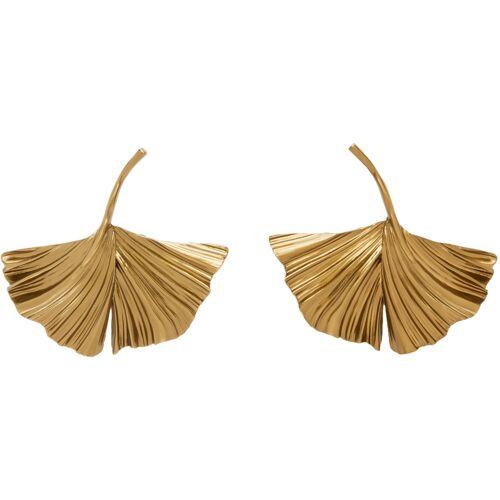 Saint Laurent Gold Ginkgo Leaf Clip-On Earrings UNI