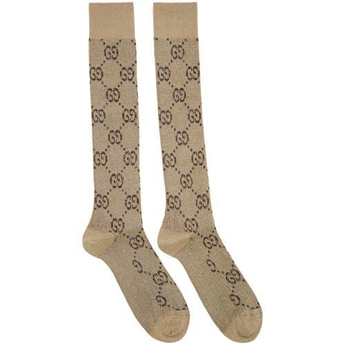 Gucci Beige Lamé GG Socks 38/39