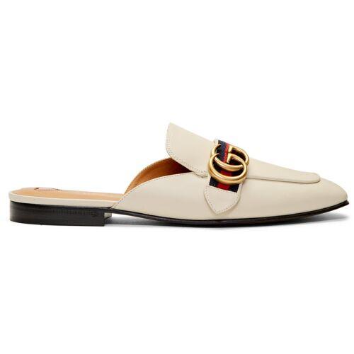 Gucci White Peyton Slippers 36