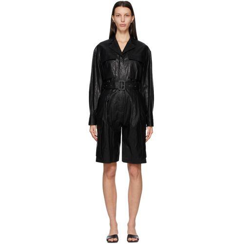 DRAE Black Faux-Leather Jumpsuit 24