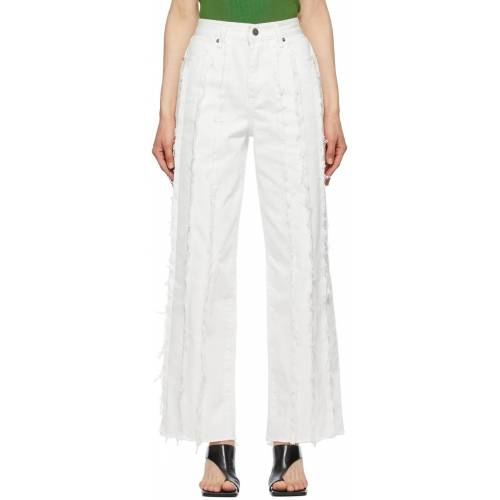 TheOpen Product White Paneled Raw Edge Jeans 28