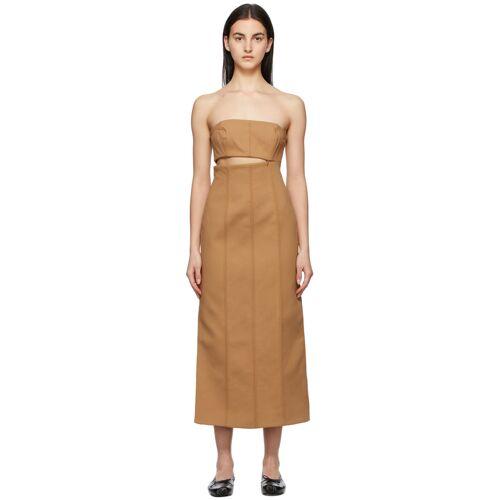 SIR. Tan Strapless Andre Midi Dress S