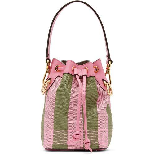Fendi Pink & Green Raffia Mini Mon Trésor Bag UNI