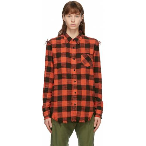 R13 Red Shredded Seam Shirt S