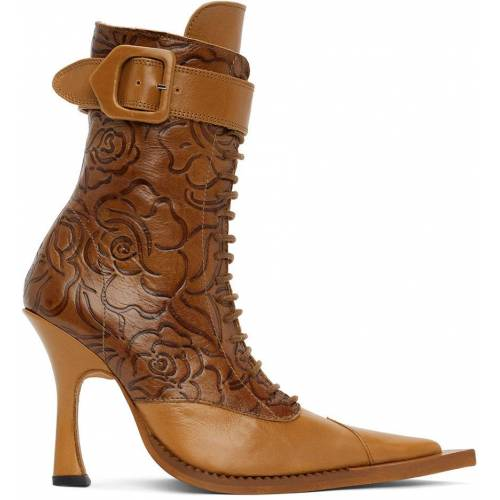 Charlotte Knowles Tan Serpent Lace-Up Heeled Boots 41