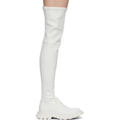 Alexander McQueen Off-White Thigh-High Tread Boots 40