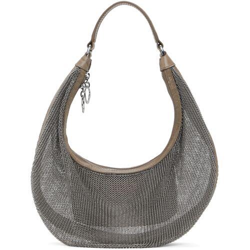 Staud Silver & Taupe Chainmail Sasha Bag UNI