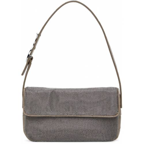 Staud Silver & Taupe Chainmail Tommy Bag UNI