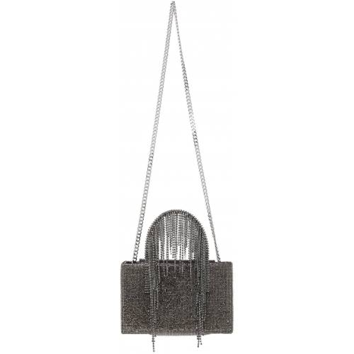 KARA Black Midi Hematite Mesh Fringe Bag UNI