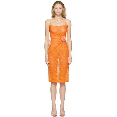 Maryam Nassir Zadeh Orange Lace Fervor Dress S
