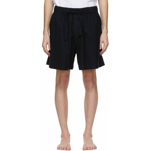Tekla Black Flannel Pyjama Shorts L