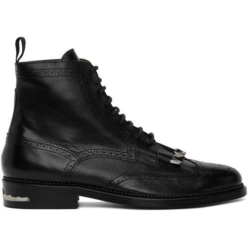 Toga Virilis Black Leather Fringed Boots 42