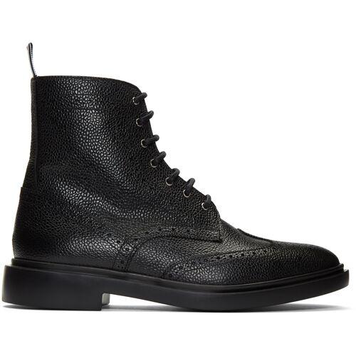 Thom Browne Black Classic Wingtip Boots 40