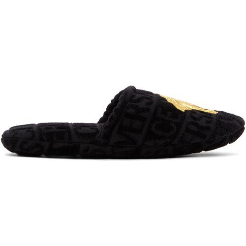 Versace Black & Gold Medusa Head Slippers 40.5