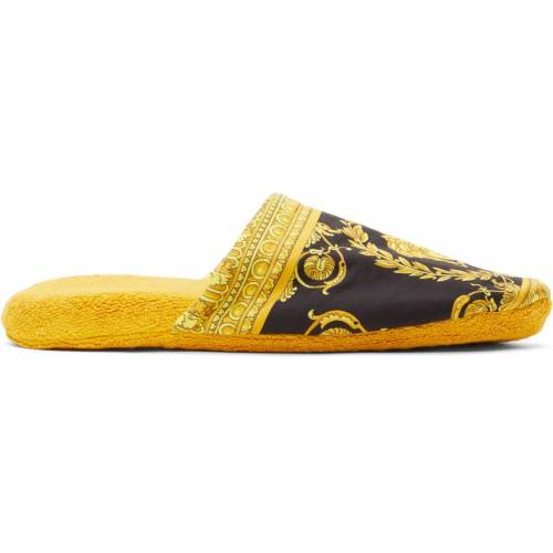 Versace Gold & Black Baroque Slippers 42