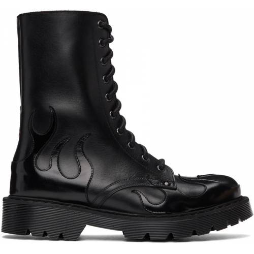 VETEMENTS Black Flame Lace-Up Military Boots 43