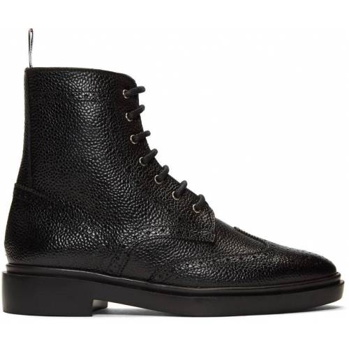 Thom Browne Black Classic Wingtip Rubber Sole Boots 41