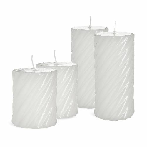 DEPOT Kerzen-Set Lack gedreht, 4-teilig, weiß