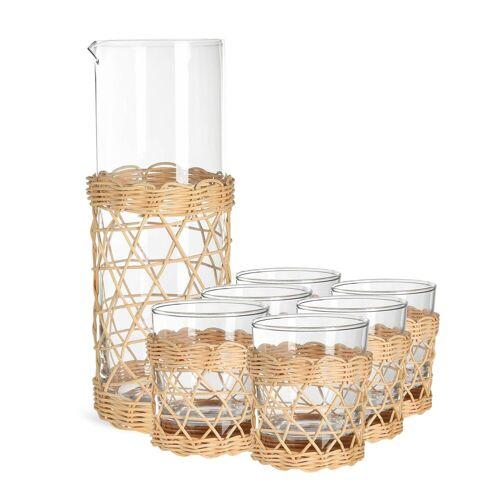 DEPOT Set Karaffe mit Glas Weaving, 7-teilig