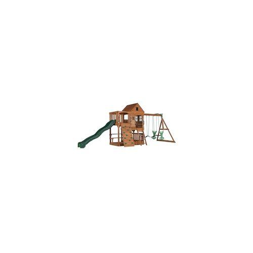 Backyard Discovery Spielturm mit Rutsche und Schaukel, Stelzenhaus