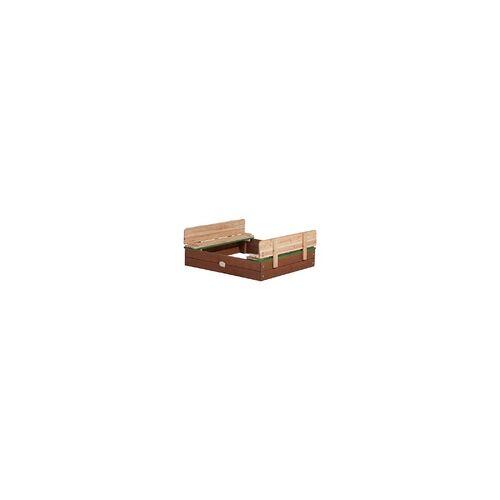 AXI Sandkasten ELLA mit Abdeckung und Sitzbank, Holzsandkasten L braun/grün