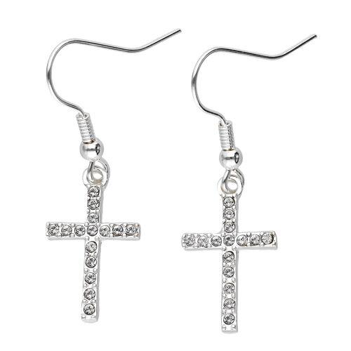 SIX Ohrhänger mit Kreuz-Motiv und Kristallen