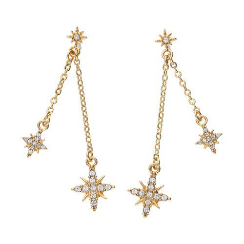TOSH Ohrhänger vergoldet mit Stern und Kristallen  Metall, Swarovski® Kristalle