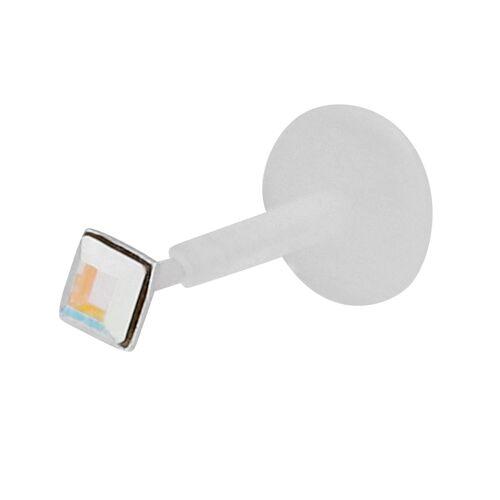 SIX 925er Silber Lippen-Piercing mit Kristallen  Silber, Swarovski® Kristalle, Kunststoff