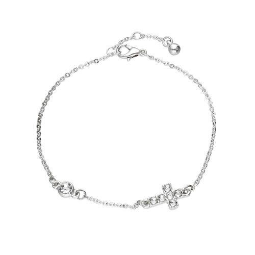 SIX Gliederarmband mit Kreuz-Motiv und Kristallen