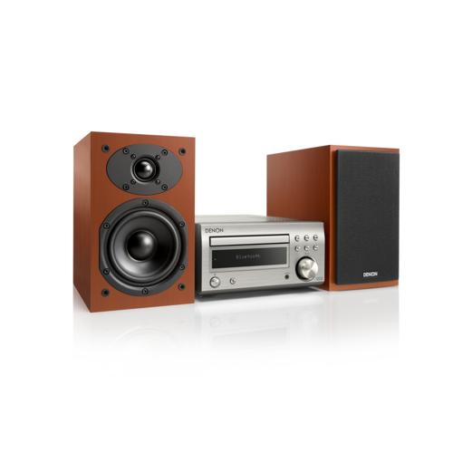 Denon D-M41DAB FM/DAB/CD Receiver, Bluetooth, inkl. Lautsprecher, Silber/Kirsch