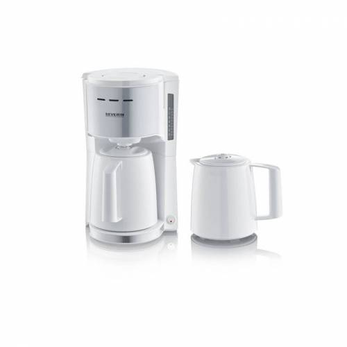 Severin KA 9257 Filterkaffeemaschine 2 Thermokannen weiß/Edelstahl-gebürstet