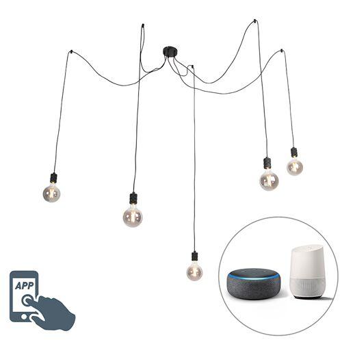 QAZQA Hängelampe schwarz inkl. 5 LED WiFi Lampen G125 Lampen - Cavalux