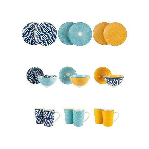 ERNESTO® Porzellan Geschirr Set, 18-teilig, mit Mustern